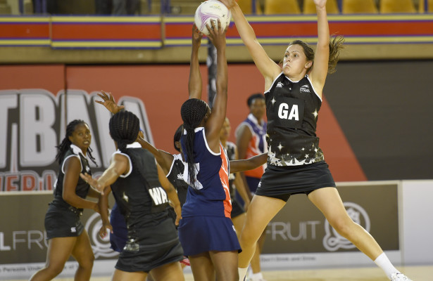 PRETORIA, SOUTH AFRICA - MAY 10:  Baobabs v Kingdom Stars during the third round of the Vasta Mhlongo of the Baobabs and Michelle Segal of the Kingdom Stars. 2015 Brutal Fruit Netball Premier League at the University of Pretoria Sports Complex on May 10, 2015 in Pretoria, South Africa.  (Photo by: Christiaan Kotze/SASPA)