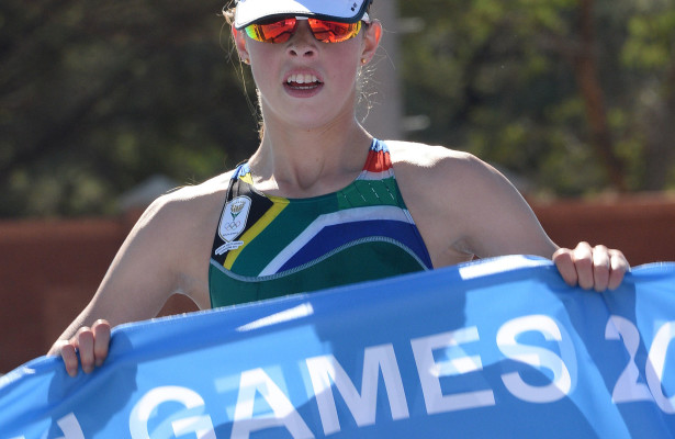 GABORONE, BOTSWANA. 28 MAY 2014. African Youth Games which take place in Gaborone from 22 May until 31 May. South Africa's Madelaine le Roux won the gold medal for the Triathlon event.  Copyright picture by WESSEL OOSTHUIZEN / SASPA