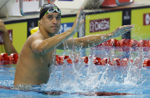 SINGAPORE - NOVEMBER 01:  Chad Le Clos of South Africa reacts after winning  the men's 200m butterfly final during the FINA Swimming World Cup at the Singapore Sports Hub OCBC Aquatic Center on November 1, 2014 in Singapore.  (Photo by Suhaimi Abdullah/Getty Images)