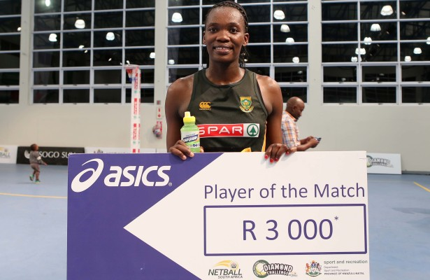 "MARGATE, SOUTH AFRICA - JUNE 18: Pumza Maweni of South Africa with the ""Player of the Match"" award against Uganda during day 3 of the Diamond Challenge netball tournament at UGU Sports Centre on June 18, 2015 in Margate, South Africa. (Photo by Reg Caldecott/Gallo Images)"