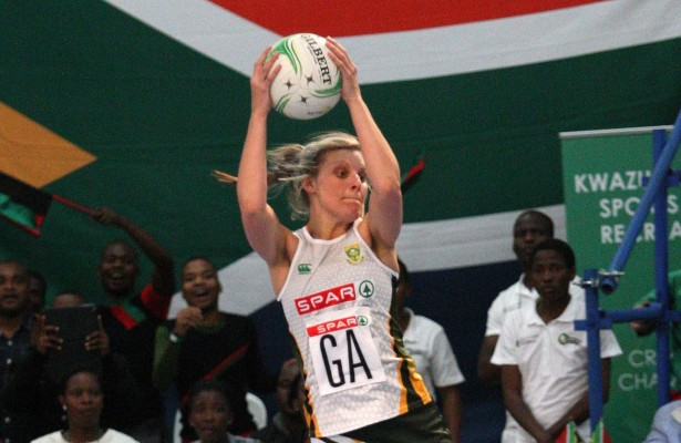 MARGATE, SOUTH AFRICA - JUNE 19: Maryka Holtzhausen of the SPAR Proteas in action against Malawi in the final during day 4 of the Diamond Challenge netball tournament at UGU Sports Centre on June 19, 2015 in Margate, South Africa. (Photo by Reg Caldecott/Gallo Images)