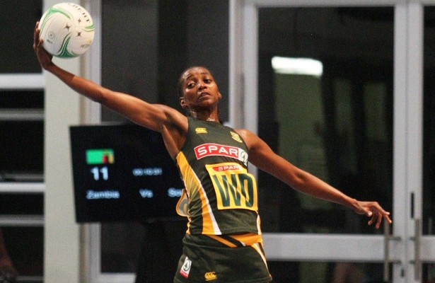 MARGATE, SOUTH AFRICA - JUNE 16: Precious Mtembu of SPAR South Africa in action against Zambia during  day 1 of the Diamond Challenge netball tournament at UGU Sports Centre on June 16, 2015 in Margate, South Africa. (Photo by Reg Caldecott/Gallo Images)