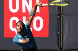 JOHANNESBURG, SOUTH AFRICA – APRIL 15: Lucas Sithole, the 3rd seed of South Africa in action against Stephane Erisman (FRA) in the 2nd round of the quads singles during day 2 of the Airports Company South Africa SA Open at Ellis Park Tennis Complex on April 15, 2015 in Johannesburg, South Africa. (Photo by Reg Caldecott/Gallo Images)