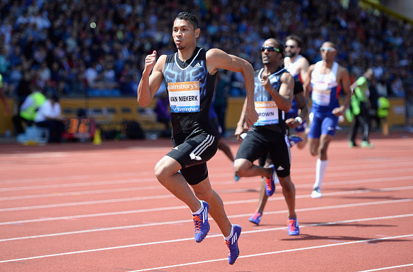 BIRMINGHAM, ENGLAND - JUNE 07:  Wayde Van Niekerk of South Africa wins the Mens 300 metres during the Sainsbury's Birmingham Grand Prix at Alexander Stadium on June 7, 2015 in Birmingham, England.  (Photo by Gareth Copley/Getty Images)