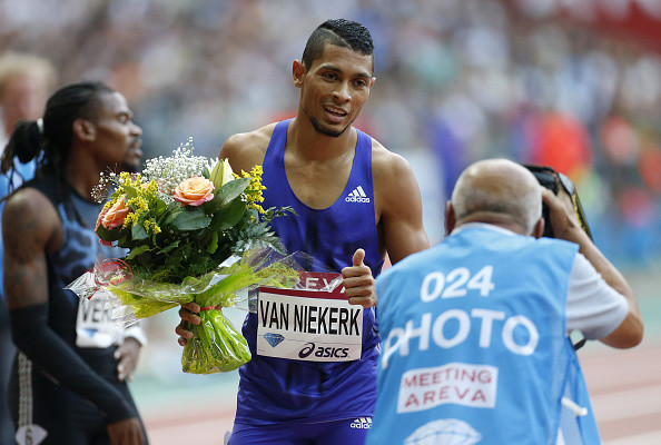 PARIS, FRANCE - JULY 4: Wayde Van Niekerk  of South Africa wins the men's 400m during the Meeting AREVA of the IAAF Diamond League 2015, held at Stade de France on July 4, 2015 in Saint-Denis nearby Paris, France. (Photo by Jean Catuffe/Getty Images)