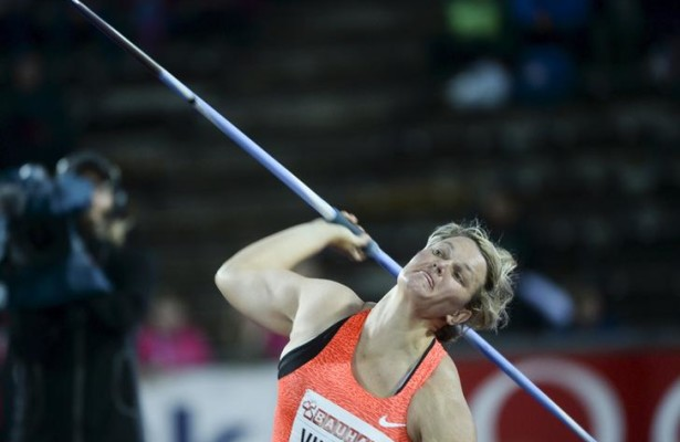 Sunette Viljoen of South Africa competes to place second in the women's javelin throw event at the IAAF Athletics Diamond League meeting in the Stockholm Olympic Stadium, Sweden July 30, 2015. REUTERS/Fredrik Sandberg/TT News Agency   