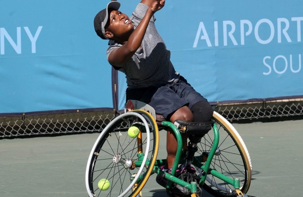 JOHANNESBURG, SOUTH AFRICA – APRIL 16: Kgothatso Montjane, the 5th seed of South Africa in action against Marjolein Buis (NED) in the women's quarterfinals during day 3 of the Airports Company South Africa SA Open at Ellis Park Tennis Complex on April 16, 2015 in Johannesburg, South Africa. (Photo by Reg Caldecott/Gallo Images)