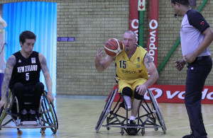 left to right:  New Zealand Pail Fallon and SA Richard Nortje during International Wheelchair Basketball Challenge, SA Amawheelaboys vs New Zealand Roller Blacks,  30 August 2015, Vodacom Mandeville Glub, Johannesburg,South Africa,Photo by Abbey Sebetha / Bakonepix