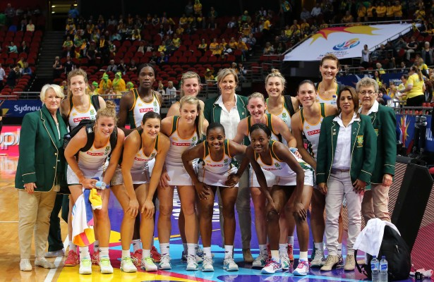 SYDNEY, AUSTRALIA - AUGUST 16: The triumphant South African team after the match between South Africa and Malawi on day 10 of Netball World Cup 2015 at Allphones Arena on August 16, 2015 in Sydney, Australia. (Photo by Reg Caldecott/Gallo Images)