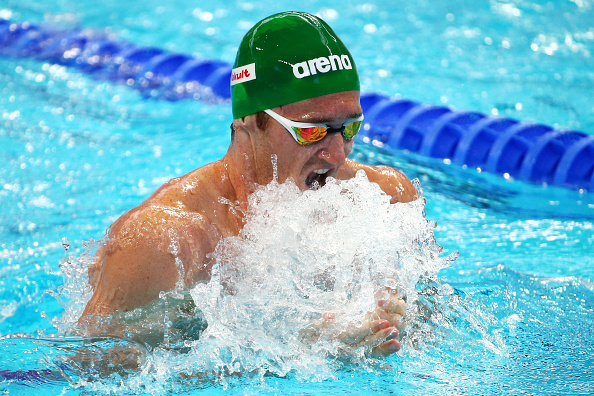 KAZAN, RUSSIA - AUGUST 06:  Cameron van der Burgh of South Africa competes in the Men's 200m Breaststroke heats on day thirteen of the 16th FINA World Championships at the Kazan Arena on August 6, 2015 in Kazan, Russia.  (Photo by Clive Rose/Getty Images)
