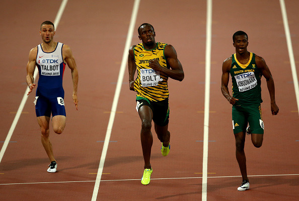 BEIJING, CHINA - AUGUST 26:  (L-R) Daniel Talbot of Great Britain, Usain Bolt of Jamaica and Anaso Jobodwana of South Africa compete in the Men's 200 metres semi-final during day five of the 15th IAAF World Athletics Championships Beijing 2015 at Beijing National Stadium on August 26, 2015 in Beijing, China.  (Photo by Ian Walton/Getty Images)