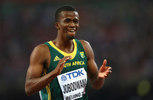 BEIJING, CHINA - AUGUST 27:  Anaso Jobodwana of South Africa celebrates after crossing the finish line to win bronze in the Men's 200 metres final during day six of the 15th IAAF World Athletics Championships Beijing 2015 at Beijing National Stadium on August 27, 2015 in Beijing, China.  (Photo by Ian Walton/Getty Images)