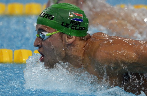 South Africa's Chad Le Clos competes in the final of the men's 200m butterfly swimming event at the 2015 FINA World Championships in Kazan on August 5, 2015.  Cseh won ahead of Le Clos.    AFP PHOTO / ALEXANDER NEMENOVALEXANDER NEMENOV/AFP/Getty Images