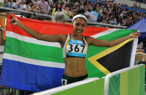 NANJING, CHINA. 25 August  2014. Youth Olympic Games taking place in Nanjing, China. Athletics. South Africa's Gezelle Magerman won the country's first medal when she took gold in the 400m hurdles for woman.  Copyright picture by WESSEL OOSTHUIZEN / SASPA