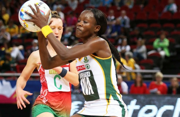 SYDNEY, AUSTRALIA - AUGUST 11: Bongiwe Msomi of South Africa in action during the match between South Africa and Wales on day 5 of Netball World Cup 2015 at Allphones Arena on August 11, 2015 in Sydney, Australia. (Photo by Reg Caldecott/Gallo Images)