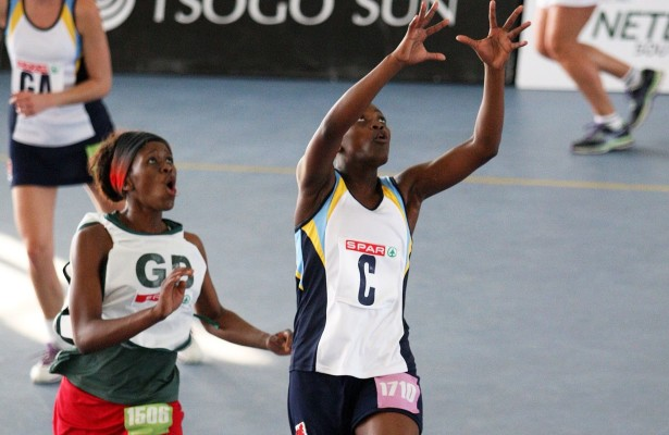 MARGATE, SOUTH AFRICA - AUGUST 25: Lungile Mthembu of Gauteng with Nobubele Phuza of the Eastern Cape defending during day 2 of the SPAR National Netball Championship at Ugu Sports Centre on August 25, 2015 in Margate, South Africa. (Photo by Reg Caldecott/Gallo Images)