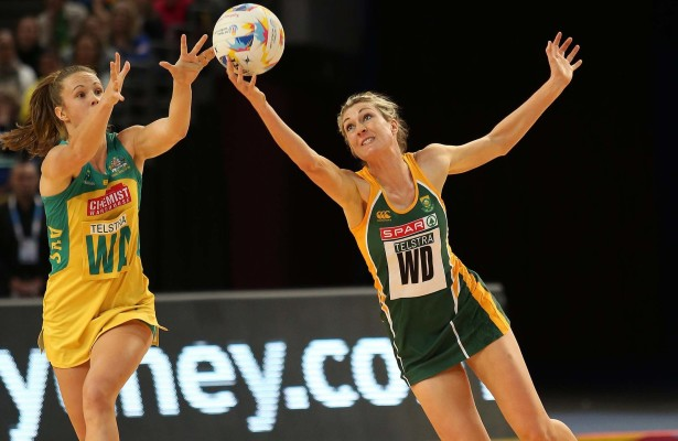 SYDNEY, AUSTRALIA - AUGUST 12: Rochelle Lawson of South Africa intercepts a ball ahead of Paige Hadley  during the match between South Africa and Australia on day 6 of Netball World Cup 2015 at Allphones Arena on August 12, 2015 in Sydney, Australia. (Photo by Reg Caldecott/Gallo Images)