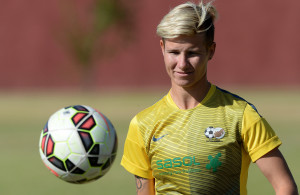 JOHANNESBURG, SOUTH AFRICA - MAY 20: Janine van Wyk during the Banyana Banyana media open day at AW Muller Stadium on May 20, 2015 in Johannesburg, South Africa. (Photo by Duif du Toit/Gallo Images)