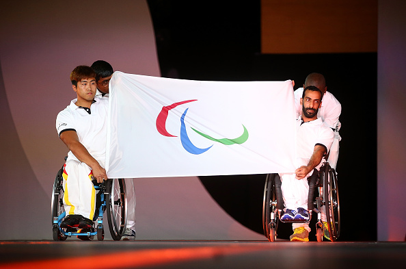 DOHA, QATAR - OCTOBER 21:  Flagbearers during the Opening Ceremony for the IPC Athletics World Championships at Katara on October 21, 2015 in Doha, Qatar.  (Photo by Francois Nel/Getty Images)