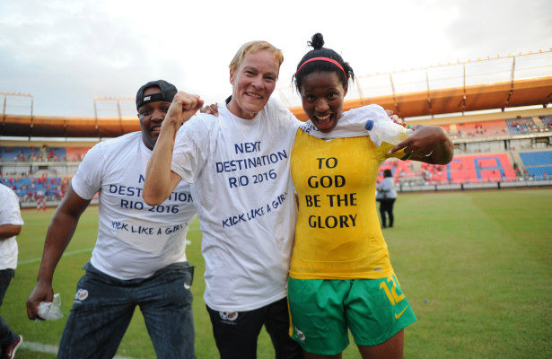 Vera Pauw and Jermaine Seoposenwe of  South Africa celebrate   during the Olympic Qualifier 2nd Leg match between Equatorial Guinea and South Africa  on 18 October 2015 at Estadio De Bata Pic Sydney Mahlangu/ BackpagePix