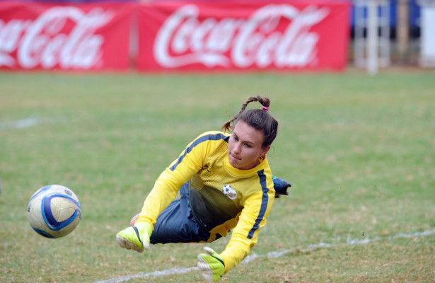 Roxanne Barker of  South Africa during the Olympic Qualifier 2nd Leg match between Kenya and South Africa on 02 August 2015 at Machakos Stadium  Pic Sydney Mahlangu/ BackpagePix