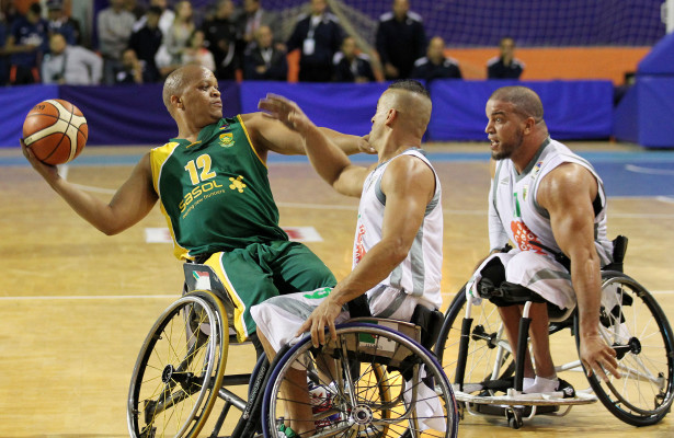 SA player Simanga Mbhele and Algeria player Nabil Guedoun during nternational Wheelchair Basketball Federation's African Qualifiers in Algiers, Algeria from 31 October to 7 November, if they are to book a spot at the 2016 Rio Paralympics, Photo by Abbey Sebetha / Bakonepix