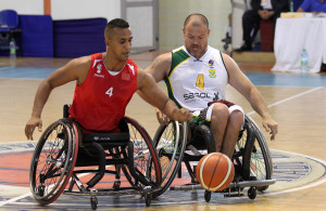 SA player Cecil Dumond and Maraocco player Challat Zouhir during nternational Wheelchair Basketball Federation's African Qualifiers in Algiers, Staoueli Basketball Stadium from 31 October to 7 November, if they are to book a spot at the 2016 Rio Paralympics, Photo by Abbey Sebetha / Bakonepix