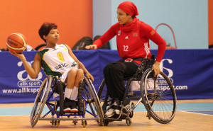 SA player Dineo Mosima and Morocco player Gourari Nora in action on Wednesday. Photo by Abbey Sebetha / Bakonepix