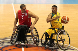SA player Rakgetsing Molete  and Egypte player Samy Sabaawy during nternational Wheelchair Basketball Federation's African Qualifiers in Algiers, Staoueli Basketball Stadium from 31 October to 7 November, if they are to book a spot at the 2016 Rio Paralympics, Photo by Abbey Sebetha / Bakonepix