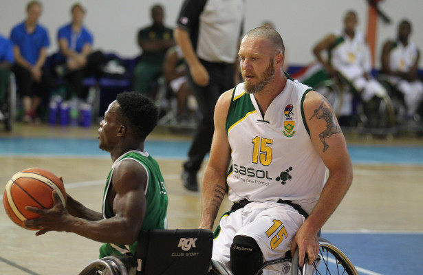 Nigeria player Olayesoye Oyelami and SA player Richard Nortje during nternational Wheelchair Basketball Federation's African Qualifiers in Algiers, Staoueli Basketball Stadium from 31 October to 7 November, if they are to book a spot at the 2016 Rio Paralympics, Photo by Abbey Sebetha / Bakonepix