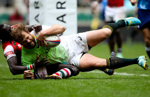 LONDON, ENGLAND - MAY 11: Frankie Horne of South Africa dives over to score a try during the Marriot London Sevens match between South Africa and Kenya at Twickenham Stadium on May 11, 2014 in London, England.  (Photo by Ben Hoskins/Getty Images/Gallo Images)