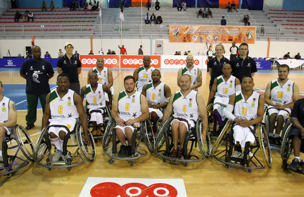 SA team during nternational Wheelchair Basketball Federation's African Qualifiers in Algiers, Staoueli Basketball Stadium from 31 October to 7 November, if they are to book a spot at the 2016 Rio Paralympics, Photo by Abbey Sebetha / Bakonepix
