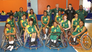 SA AmaWheelagirls team photo during nternational Wheelchair Basketball Federation's African Qualifiers in Algiers, Staoueli Basketball Stadium from 31 October to 7 November, if they are to book a spot at the 2016 Rio Paralympics, Photo by Abbey Sebetha / Bakonepix