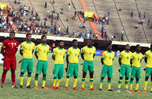 South African team line up during the U23 African Cup of Nations match between South Africa and Algeria on 09th December 2015 at Stade Leopold Sedar Senghor in Dakar ©/BackpagePix