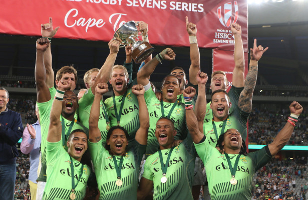 CAPE TOWN, SOUTH AFRICA - DECEMBER 13: South Africa celebrates during day 2 of the HSBC Cape Town Sevens in the final game between South Africa and Argentina at Cape Town Stadium on December 13, 2015 in Cape Town, South Africa. (Photo by Carl Fourie/Gallo Images)