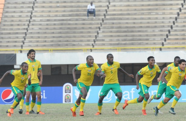 Sout African players celebrating after winning on penalties during the U23 African Cup of Nations match between South Africa and Senegal on the 12ve December 2015 at Stade Leopold Sedar Senghor in Dakar ©/BackpagePix