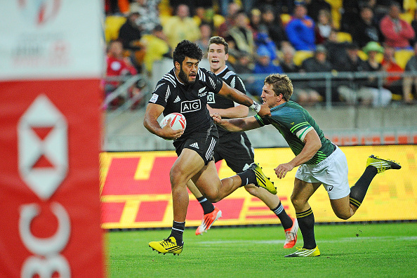 WELLINGTON, NEW ZEALAND - JANUARY 30: Akira Ioane of New Zealand evades a tackle by Kwagga Smith of South Africa during the 2016 Wellington Sevens match between New Zealand and South Africa at Westpac Stadium on January 30, 2016 in Wellington, New Zealand.  (Photo by Mark Tantrum/Getty Images for HSBC)
