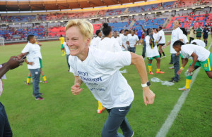 Vera Pauw coach South Africa celebrates after the match with players  during the Olympic Qualifier 2nd Leg match between Equatorial Guinea and South Africa  on 18 October 2015 at Estadio De Bata Pic Sydney Mahlangu/ BackpagePix
