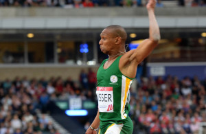 GLASGOW, SCOTLAND. 30 July 2014. Commonwealth Games.  Athletics. South Africa's Zirk Visser won the ilver medal and Samaai the bronze.   Copyright picture by WESSEL OOSTHUIZEN / SASPA