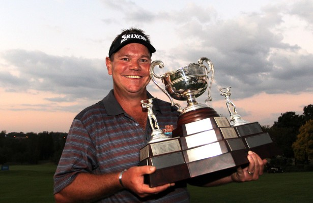 JOHANNESBURG, SOUTH AFRICA - APRIL 06: Titch Moore with the trophy during day 4 of the Telkom Business PGA Championship at Country Club Johannesburg on April 06, 2014 in Johannesburg, South Africa. EDITORS NOTE: For free editorial use. Not available for sale. No commercial usage. (Photo by Carl Fourie/Gallo Images)