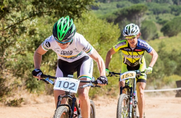Cherie Vale leads Esther Suss during round 2 of the  Stihl Southern African Mountain Bike Cup Series held at  Helderberg Farm,  Somerset West in the Western Cape of South Africa on  27th February 2016