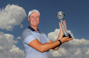 PRETORIA, SOUTH AFRICA - FEBRUARY 04: Monique Smit with the trophy during day 3 of the Ladies Tshwane Open at Zwartkop Country Club on February 04, 2016 in Pretoria, South Africa. EDITOR'S NOTE: For free editorial use. Not available for sale. No commercial usage. (Photo by Petri Oeschger/Sunshine Tour/Gallo Images)