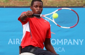 BENONI, SOUTH AFRICA - APRIL 09: Evans Maripa of South Africa in action against Maikel Scheffers (NED) in the second round of the men's singles during day 2 of the Airports Company South Africa Gauteng Open at the Gauteng East Tennis Complex on April 09, 2015 in Benoni South Africa. (Photo by Reg Caldecott/Gallo Images)