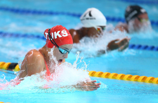 DURBAN, SOUTH AFRICA, February 6 2016 - Tatjana Schoenmaker Women 50m  LC Breaststroke during Day 3  the secondleg of the 2016 South African Swimming Grand Prix series at the  Kings Park Swimming Pool Durban South Africa. (Photo by Steve Haag) Images for social media must have consent from Steve Haag
