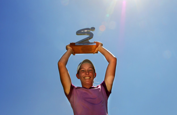 JOHANNESBURG, SOUTH AFRICA - MARCH 04: Bertine Strauss during the trophy presentation during day 3 of the 2016 SuperSport Ladies Challenge at Huddle Park Golf Course on March 04, 2016 in Johannesburg, South Africa. EDITOR'S NOTE: For free editorial use. Not available for sale. No commercial usage. (Photo by Petri Oeschger/Sunshine Tour/Gallo Images)