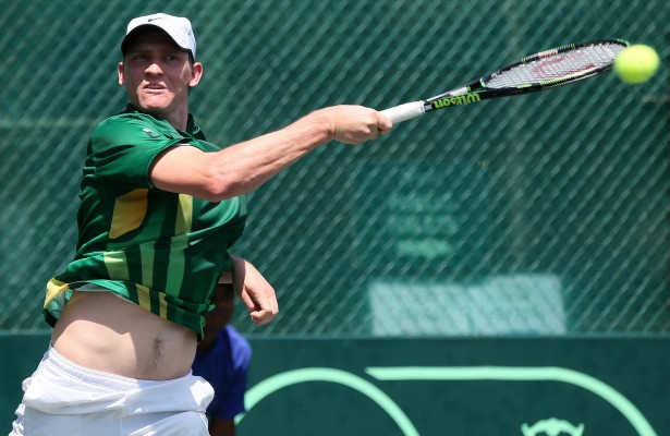PRETORIA, SOUTH AFRICA – MARCH 4: Tucker Vorster of South Africa in action against Alex Knaff (LUX) in the opening singles  during day 1 of the Davis Cup Tie between South Africa and Luxembourg at Irene Country Club on March 4, 2016 in Pretoria, South Africa. (Photo by Reg Caldecott/Gallo Images)