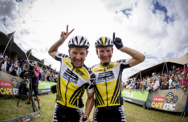 Karl Platt and Urs Huber of Team Bulls 1 celebrate at the finnishof  the final stage (stage 7) of the 2016 Absa Cape Epic Mountain Bike stage race from Boschendal in Stellenbosch to Meerendal Wine Estate in Durbanville, South Africa on the 20th March 2016  Photo by Nick Muzik/Cape Epic/SPORTZPICS  PLEASE ENSURE THE APPROPRIATE CREDIT IS GIVEN TO THE PHOTOGRAPHER AND SPORTZPICS ALONG WITH THE ABSA CAPE EPIC  {ace2016}