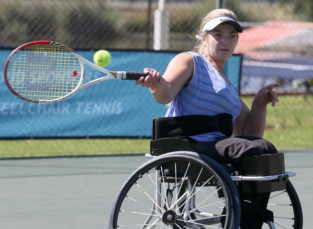 BENONI, SOUTH AFRICA - MARCH 30: Mariska Venter of South Africa in action against Emilie Chene (FRA) in the women's singles during day 1 of the ACSA Gauteng Wheelchair Tennis Open at Gauteng East Tennis Centre on March 30, 2016 in Benoni, South Africa. (Photo by Reg Caldecott/Gallo Images)