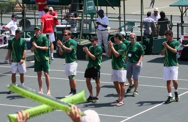 PRETORIA, SOUTH AFRICA – MARCH 6: The South African Davis Cup team acknowledge the crowd after winning the tie 5 - 0 during day 3 of the Davis Cup Tie between South Africa and Luxembourg at Irene Country Club on March 6, 2016 in Pretoria, South Africa. (Photo by Reg Caldecott/Gallo Images)