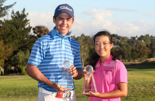 CAPE TOWN, SOUTH AFRICA - Thursday 10 March 2016,  Overall Boys Winner Garrick Higgo and Overall Girls Winner Woo-Ju Son during the Final Round of the Curro SA Juniors International at the Durbanville Golf Club.  Photo by Shaun Roy/ImageSA